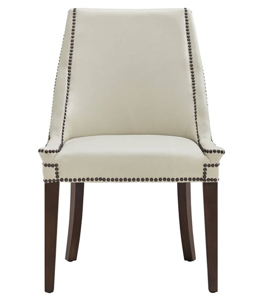 2 Bart Cream Eco Leather Antique Brown Birch  Legs Side Chairs TOV-D38
