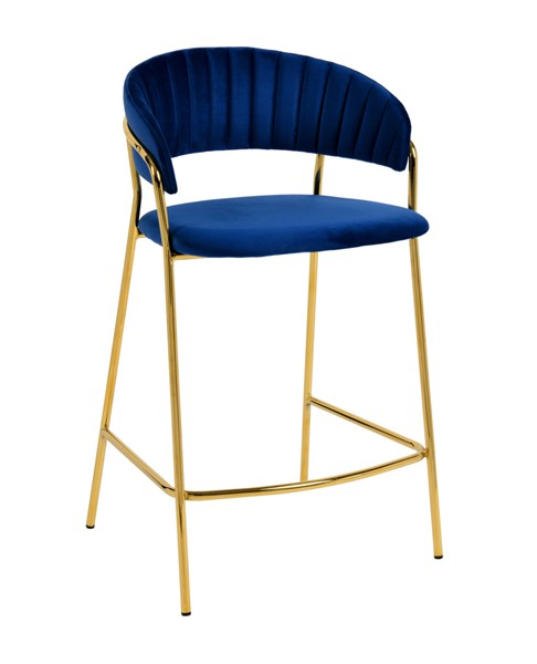 2 TOV Furniture Padma Navy Velvet Counter Stools TOV-D4315