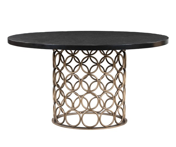 TOV Furniture Valentina Antique Black Round Dining Table TOV-D44010