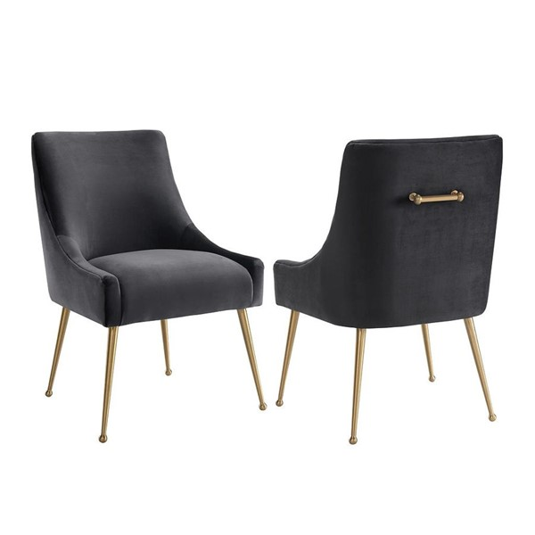 TOV Furniture Beatrix Gold Grey Velvet Side Chair TOV-D47