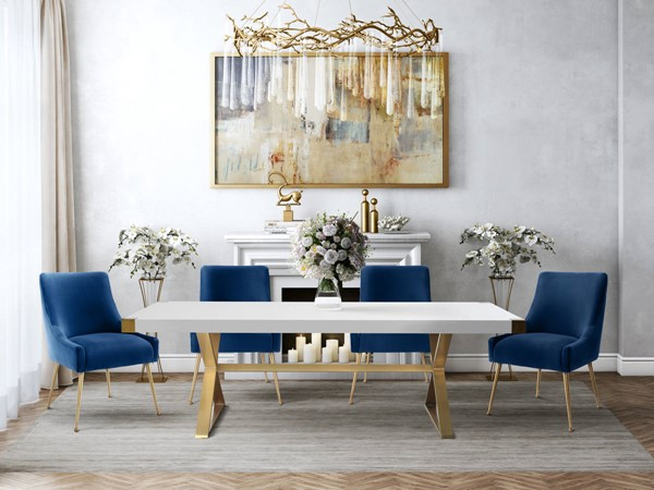 TOV Furniture Adeline 5pc Dining Room Set with Navy Chairs TOV-G5496-TOV-D48