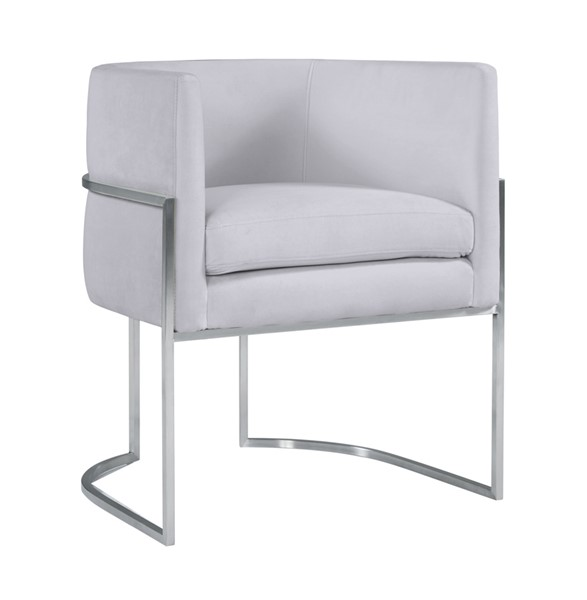 TOV Furniture Giselle Grey Velvet Silver Frame Dining Chair TOV-D6300