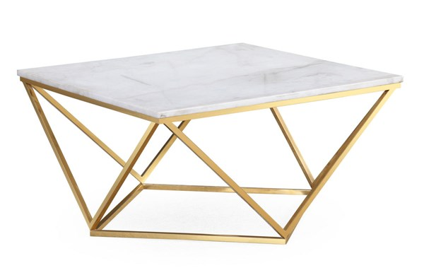 TOV Furniture Leopold White Marble Cocktail Table TOV-G5477