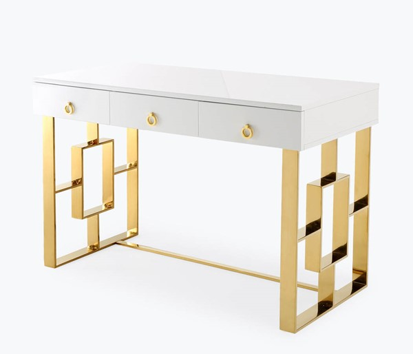 TOV Furniture Audrey White Gold Lacquer Desk TOV-H3739