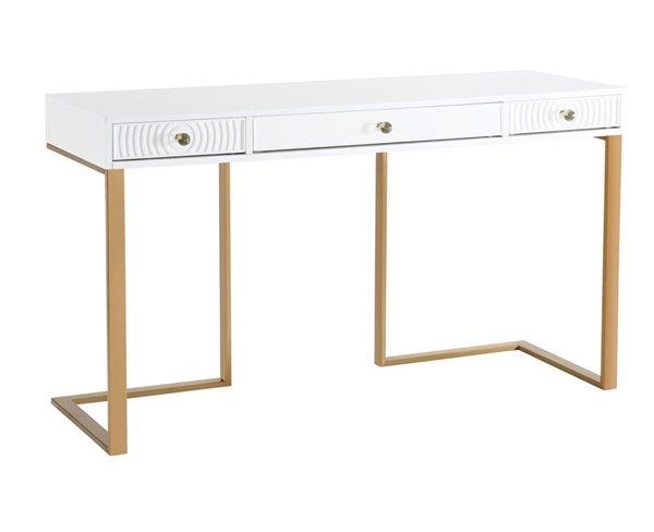 TOV Furniture Janie White Lacquer Desk TOV-H5519