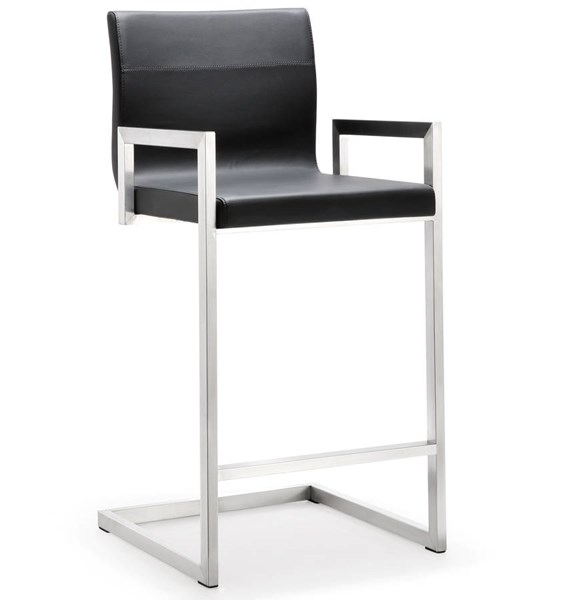 2 TOV MOD Black Eco Leather Stainless Steel Milano Counter Stools TOV-K3610