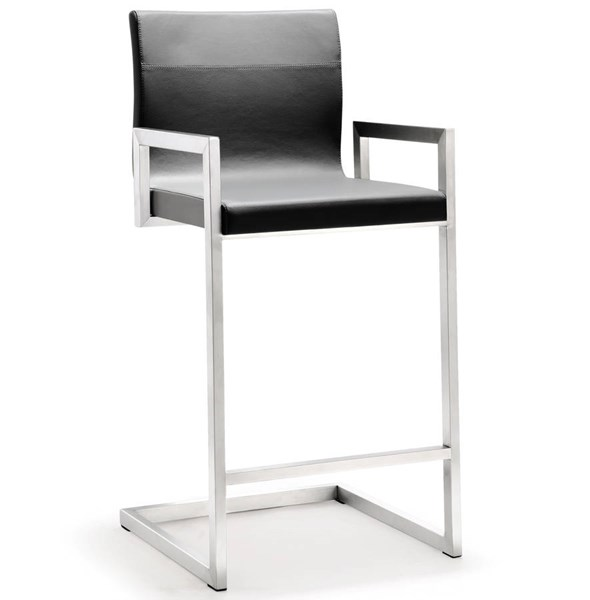2 TOV MOD Grey Eco Leather Stainless Steel Milano Counter Stools TOV-K3611