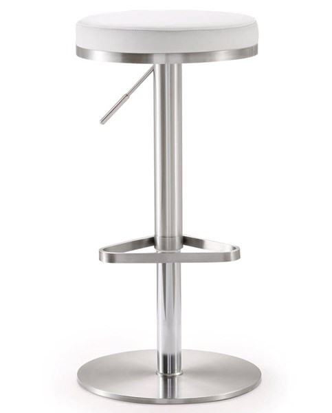 TOV MOD White Eco Leather Stainless Steel Fano Adjustable Barstool TOV-K3614