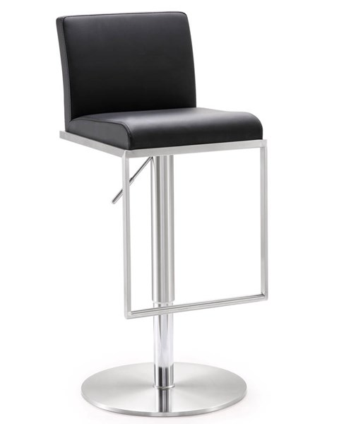 TOV MOD Black Eco Leather Steel Amalfi Adjustable Barstool TOV-K3615