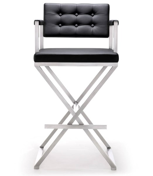 TOV MOD Black Eco Leather Stainless Steel Director Barstool TOV-K3625