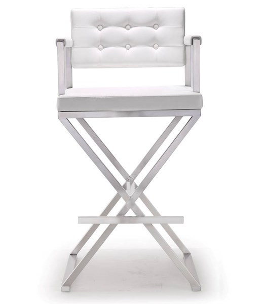TOV MOD White Eco Leather Stainless Steel Director Barstool TOV-K3626