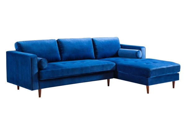 TOV Furniture Como Navy Velvet RAF Sectional TOV-L4110-L4128