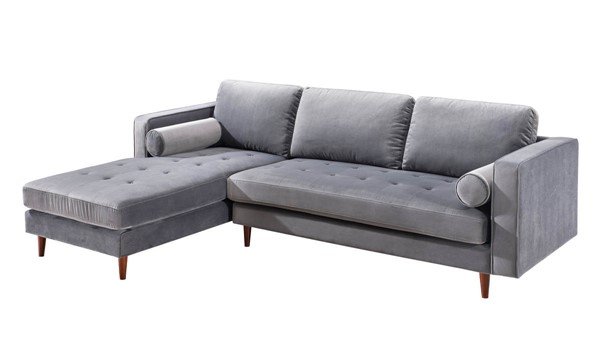 TOV Furniture Como Grey Velvet LAF Sectional TOV-L4123-L4125
