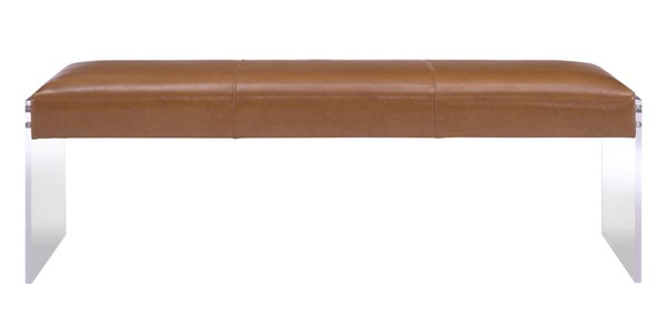 TOV Furniture Envy Brown Leather Acrylic Bench TOV-O28