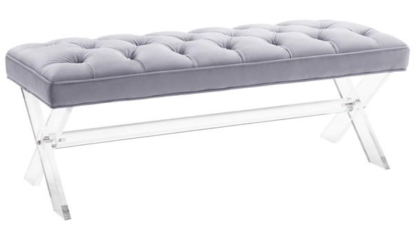 TOV Furniture Claira Grey Lucite Bench TOV-O37