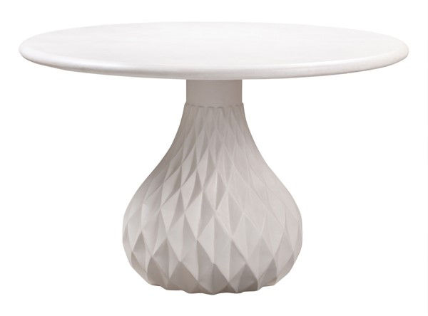 TOV Furniture Tulum Ivory Concrete Indoor Outdoor Dining Table TOV-O44067