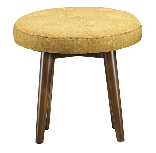 Malmo Yellow Linen Brown Birch Legs Tufted Upholstered Seat Stool TOV-O47
