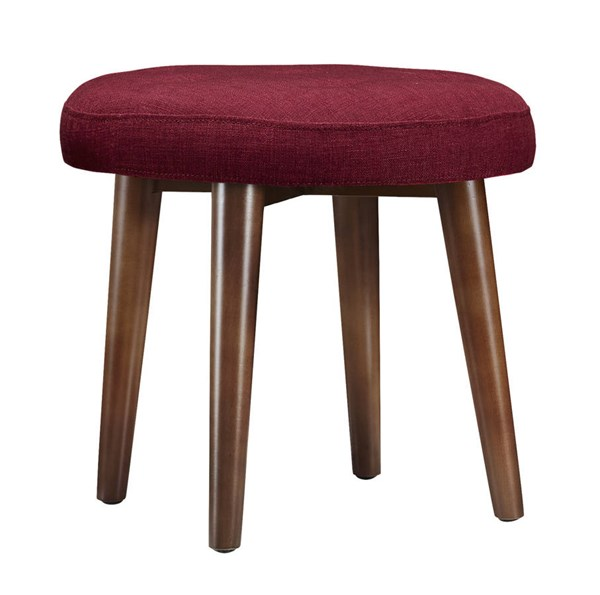 Malmo Red Linen Brown Birch Legs Tufted Upholstered Seat Stool TOV-O48