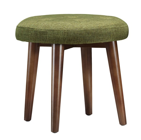 Malmo Green Linen Brown Birch Legs Tufted Upholstered Seat Stool TOV-O49