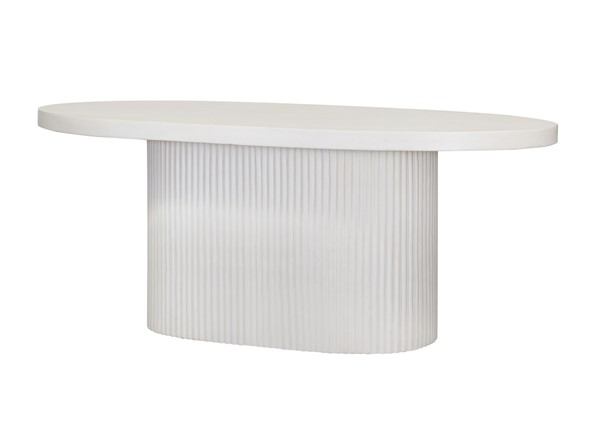 TOV Furniture Wave White Concrete Outdoor Dining Table TOV-O7077