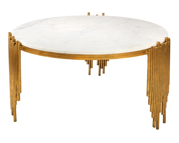 TOV Furniture Waterfall Gold White Cocktail Table TOV-OC18123