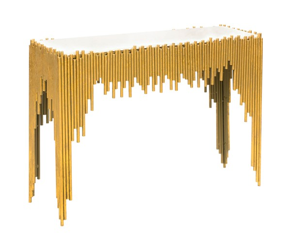 TOV Furniture Waterfall Gold White Console Table TOV-OC18201