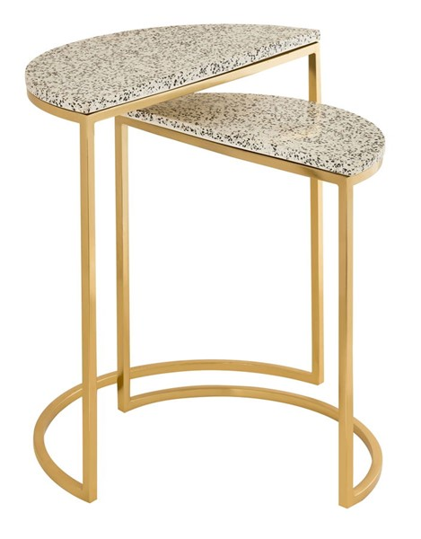 TOV Furniture Crete White Gold Terrazzo Nesting Tables TOV-OC18276