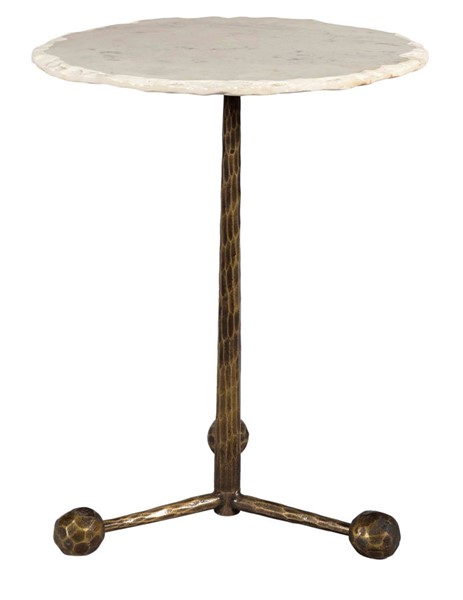 TOV Furniture Orbital Antique Brass White Marble Side Table TOV-OC18293