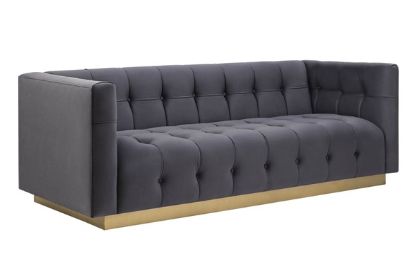 TOV Furniture Roma Grey Gold Velvet Sofa TOV-S169