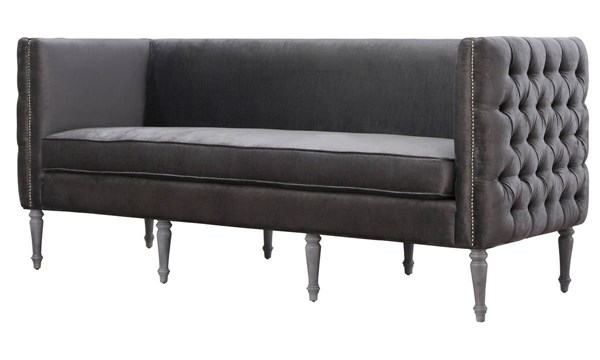 Bryn Modern Grey Velvet White Birch Legs Removable Seat Cushions Sofa TOV-S21S