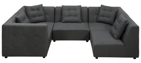 Earl Grey Black Mixed Linen 5 Piece Modular Sectional TOV-S28-Sec-3C-2AL