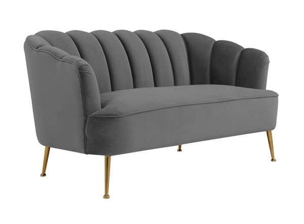 TOV Furniture Daisy Grey Velvet Settee TOV-S4921