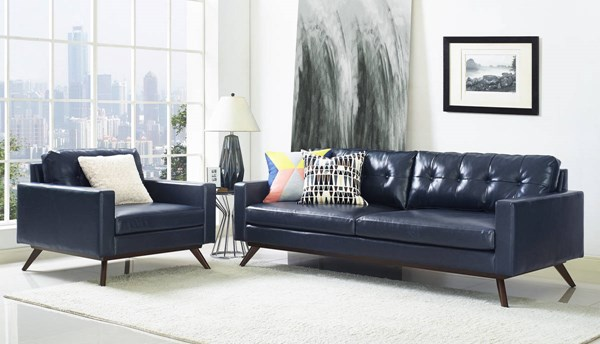 Blake Blue Eco Leather Brown Rubberwood Legs 2pc Living Room Set TOV-S56-TOV-A73