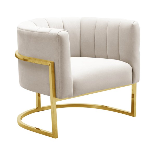 TOV Furniture Magnolia Cream Spotted Chair with Gold Base TOV-S6150