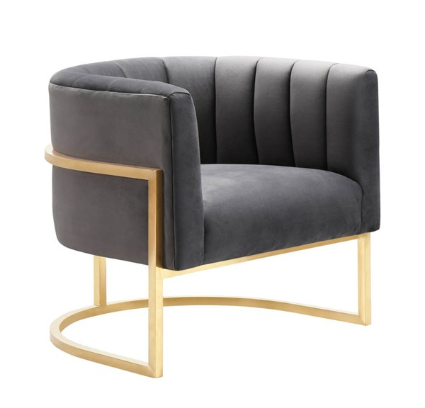 TOV Furniture Magnolia Grey Chair with Gold Base TOV-S6158