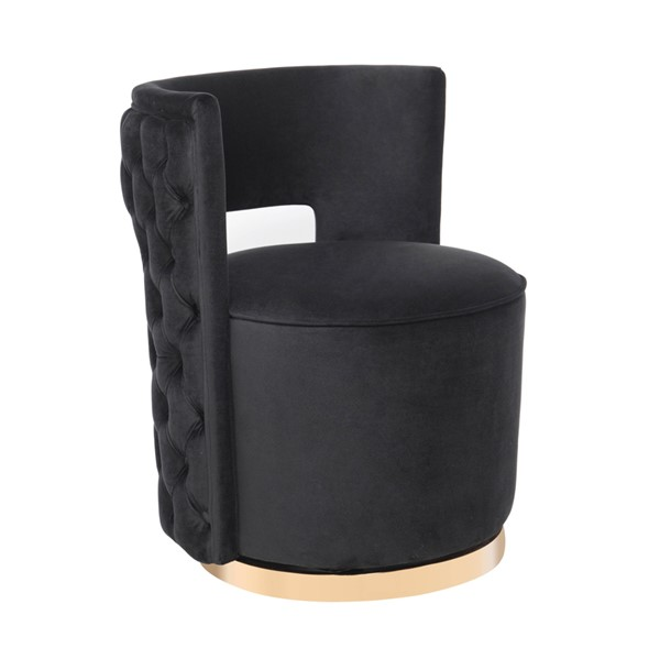 TOV Furniture Mimosa Black Velvet Swivel Chair TOV-S6369