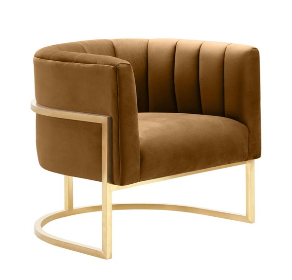 TOV Furniture Magnolia Cognac Chair With Gold Base TOV-S68190