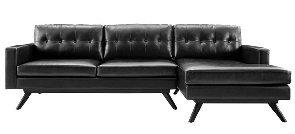 Blake Elegant Antique Black Eco Leather Rubberwood RAF Sectional TOV-S71-S72-SEC-RAF