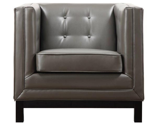 Zoe Grey Black Bonded Leather Tufted Seat Chair TOV-ZOE-CHAIR-GBL