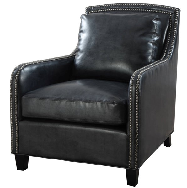 Greenwich Graphite Metallic Bonded Leather Black Birch Legs Club Chair TOV-A44