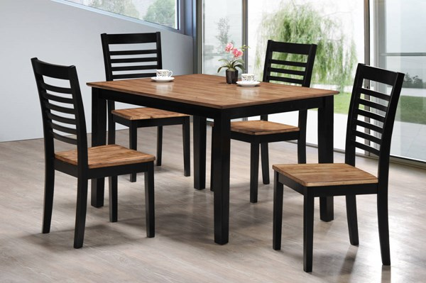 Key West Contemporary Light Oak Ebony Solid Wood 5pc Dining Room Set UNI-5004-48