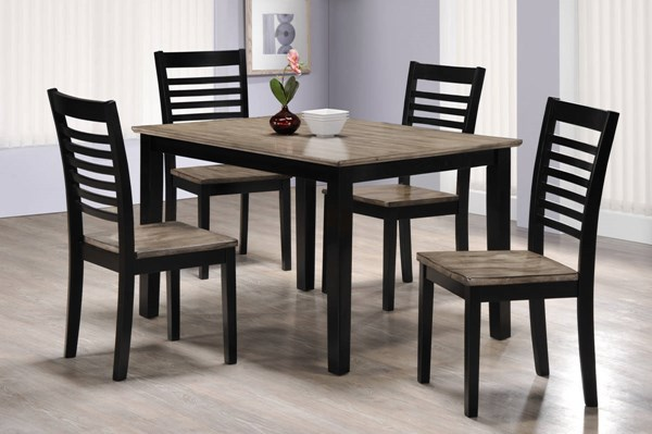 East Pointe Contemporary Grey Ebony Solid Wood 5pc Dining Room Set UNI-5014-48