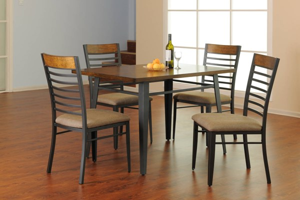 Ethan Hardwood Metal Solid Top Rectangle 5pc Dining Room Set UNI-5301-48