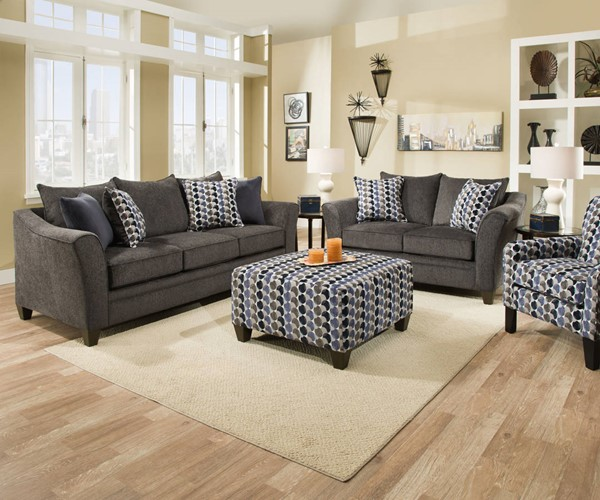 United Furniture Albany Slate 3pc Living Room Set With