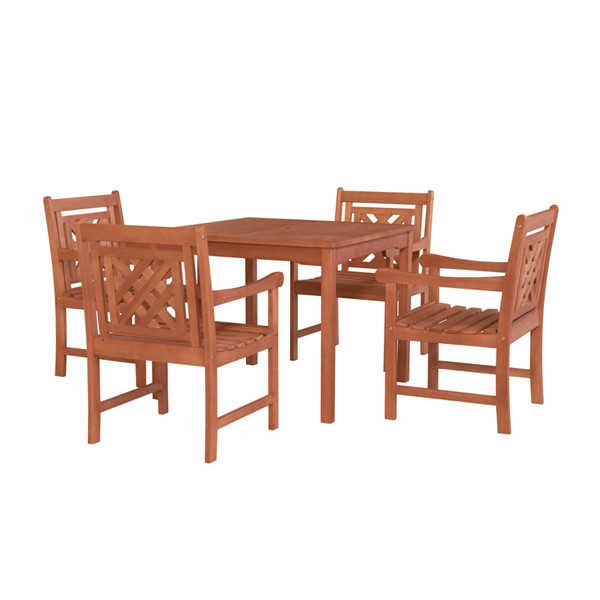VIFAH Malibu Natural Wood Stacking Table Outdoor Patio 5pc Dining Set VFH-V1104SET18
