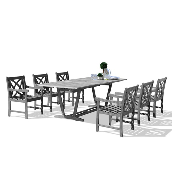 VIFAH Renaissance Hand Scraped Wood Extension Table Outdoor Patio 7pc Dining Set VFH-V1294SET11
