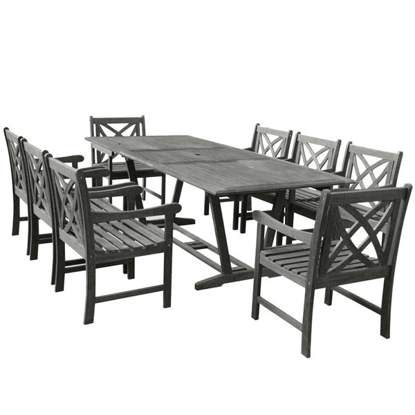 VIFAH Renaissance Hand Scraped Wood Extension Table Outdoor Patio 9pc Dining Set VFH-V1294SET12