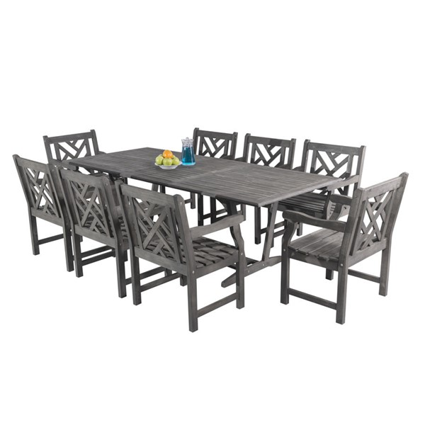 VIFAH Renaissance Hand Scraped Wood Decorative Back Outdoor Patio 9pc Dining Set VFH-V1294SET16