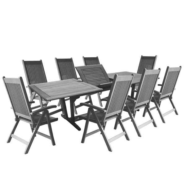 VIFAH Renaissance Hand Scraped Wood Reclining Chairs Outdoor 9pc Dining Set VFH-V1294SET21