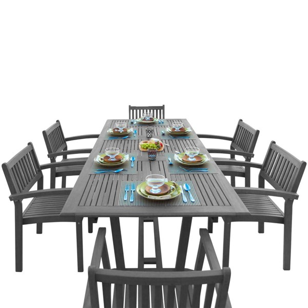 VIFAH Renaissance Hand Scraped Wood Outdoor 7pc Dining Set VFH-V1294SET23